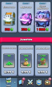 Chests and jewels in Clash Royale