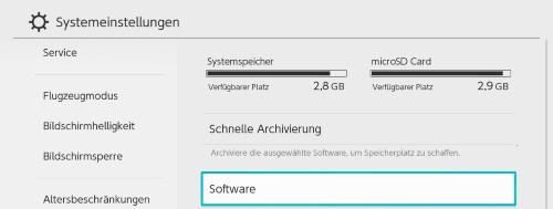 Nintendo Switch freien Speicherplatz anzeigen