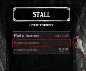Pferd versichern in Red Dead Online