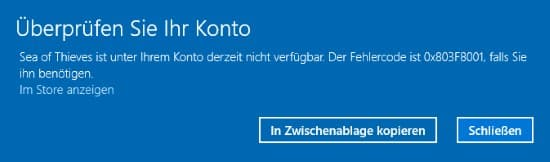 Windows Store 0x803F8001