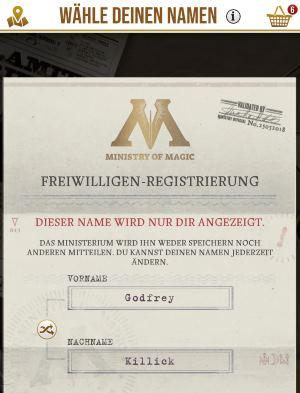 Harry Potter Wizards Unite Name ändern