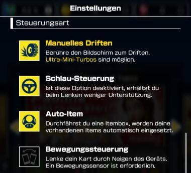 Mario Kart Tour Steuerung ändern