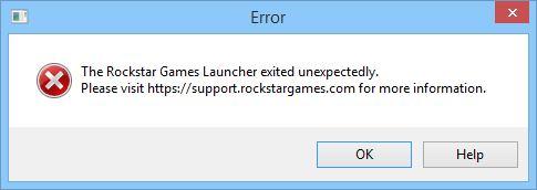 Der Rockstar Games Launcher wurde unerwartet beendet