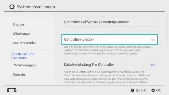 Nintendo Switch Vibration ausschalten