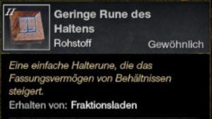 Geringe Rune des Haltens